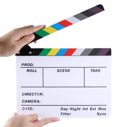 "Colorful Director's Film Movie Cut Action Scene Clapboard, 10x12"" Dry Erase TV Video Clapper Board"