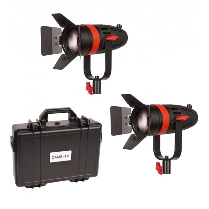 (Mid Year Sale) CAME-TV Boltzen 55w LED Video Light Fresnel Focusable Daylight 2pcs Kit (10000 LUX)