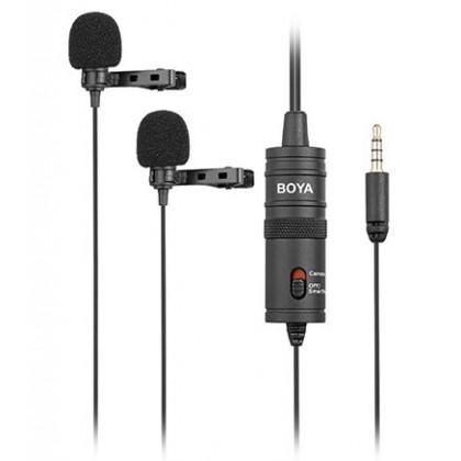 BOYA BY-M1DM Dual Lavalier Microphone Omnidirectional Mic
