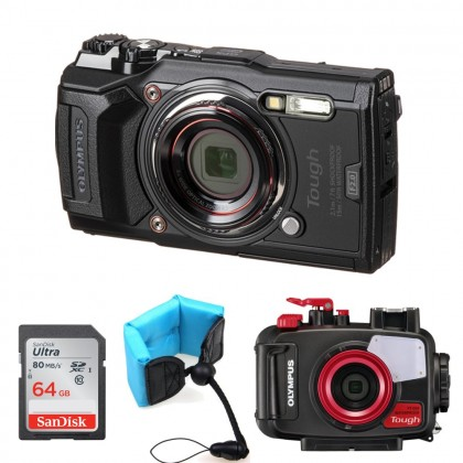 Olympus Tough TG-6 TG6 Waterproof Digital Camera Free Underwater Housing+64GB+Floating Strap