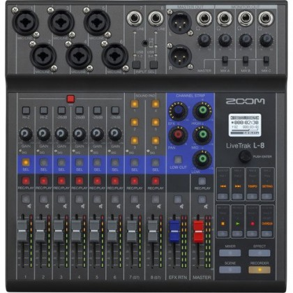 Zoom LiveTrak L-8 Portable 8-Channel Digital Mixer and Multitrack Recorder L8