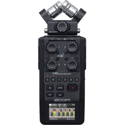 Zoom H6 Black 6-Input / 6-Track Portable Handy Recorder with Single Mic Capsule