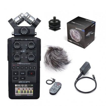 Zoom H6 Black 6-Track Recorder with Accessories Pack + Hotshoe Mount