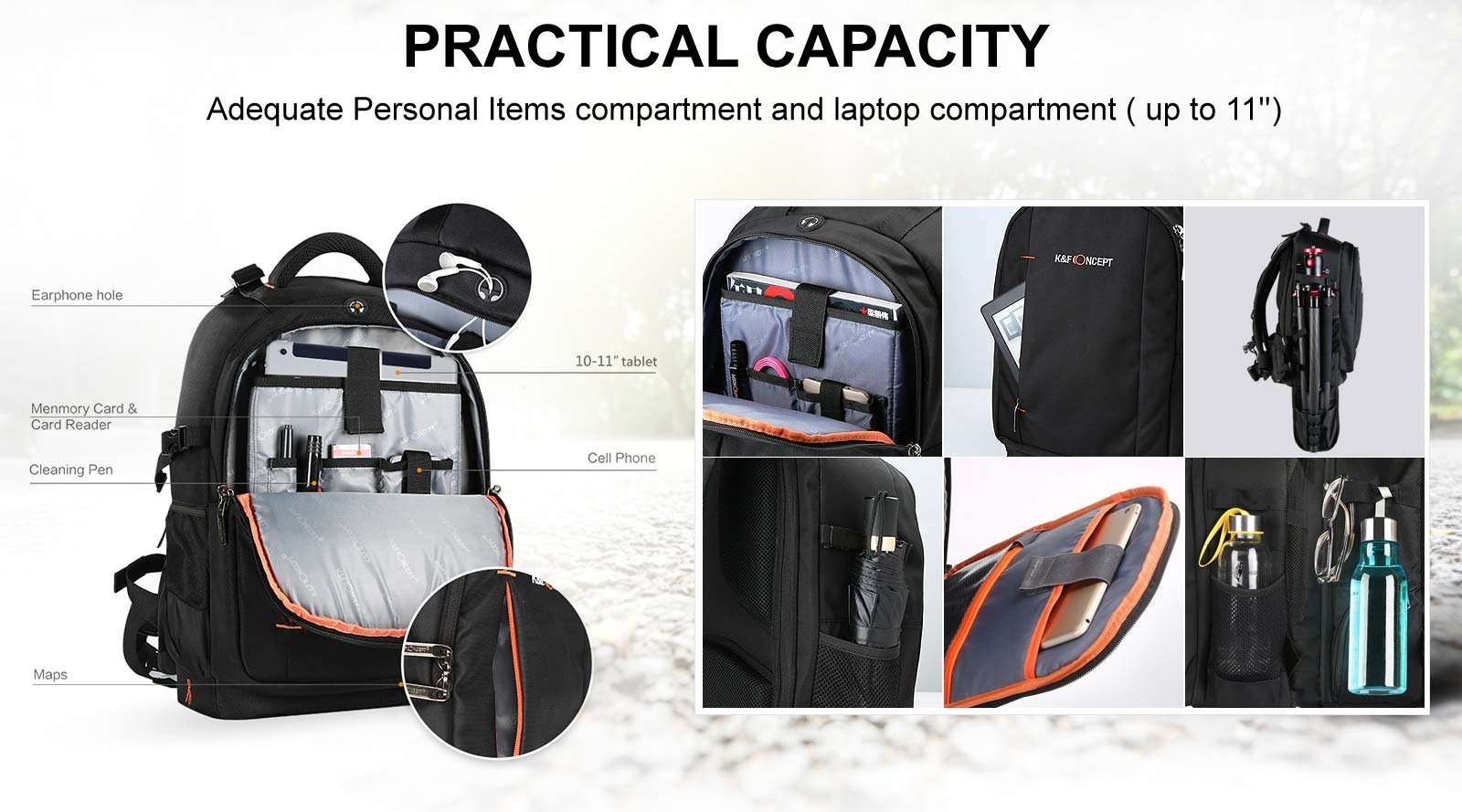 44c82bbe7d This K F backpack with large main compartment holds a DSLR with lens  attached while the modular dividers system will separate